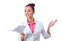 Friendly woman holding papers. All isolated on Stock Photos