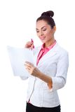 Friendly woman holding papers. All isolated on Royalty Free Stock Photos
