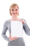 Friendly woman holding vertical blank sign Stock Photography