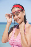Friendly woman leisure lifestyle at beach holiday Stock Photography
