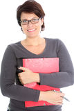 Friendly woman with red folder Stock Photography