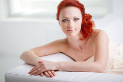 Friendly woman in the room Stock Photography