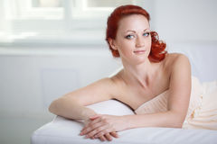 Friendly woman in the room Royalty Free Stock Images