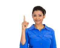 Friendly woman, showing index finger Stock Images
