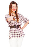 Friendly woman showing thumbs up Royalty Free Stock Photos