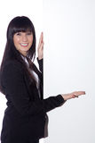 Friendly woman with sign Stock Photos