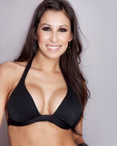 Friendly woman wearing black sport bra Royalty Free Stock Photos