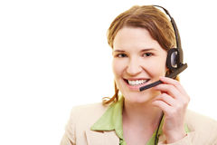 Friendly worker with headset Royalty Free Stock Images