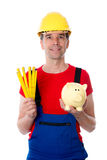 Friendly worker with yardstick and piggy bank Royalty Free Stock Photos