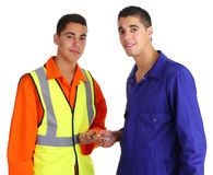 Friendly workmen Stock Photos