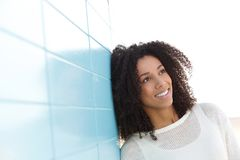 Friendly young black woman smiling Stock Photography