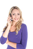 Friendly Young Blonde Woman with Cell Phone Royalty Free Stock Images