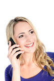 Friendly Young Blonde Woman with Cell Phone Stock Photo