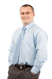 Friendly young businessman isolated on white Stock Image