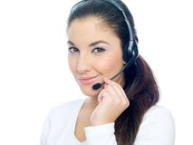 Friendly young call center operator Stock Image