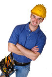 Friendly young caucasian  manual worker. Friendly young manual worker background Stock Images