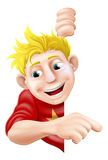 Friendly Young man or Boy Pointing Royalty Free Stock Photography