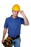 Friendly young manual worker stock photography