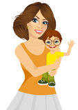 Friendly young mother with her little baby Stock Photography