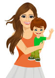 Friendly young mother with her little baby Royalty Free Stock Photography