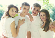 The friendly young people, tinted Royalty Free Stock Photography