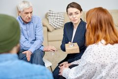 Obese Patient at Group Therapy Session royalty free stock photography