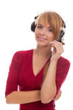 Friendly young woman helpline operator Stock Photo