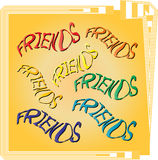 Friends. Text is created in the Adobe Illustrator stock illustration
