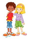 Friends. Illustration, colored with photoshop that represents the friendship among two children of different countries Stock Photos
