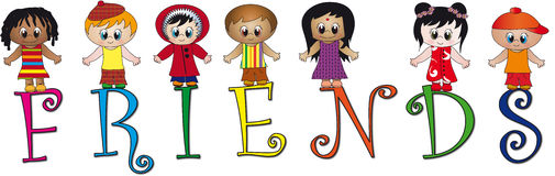 Friends. Illustration of written friends with many children of different nationalities Royalty Free Stock Photos