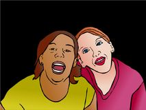 Friends. Young happy and diverse friends huddling together - pop art series Stock Photography