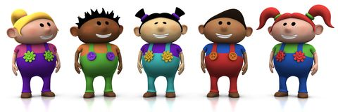 Friends. Five colorful multi-ethnic cartoon kids with big smiles on their faces -  3d rendering/illustration Stock Photo