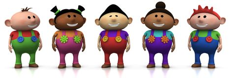 Friends. Five colorful multi-ethnic cartoon kids with big smiles on their faces -  3d rendering/illustration Royalty Free Stock Images