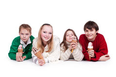 Friends. Four friends in the winter (autumn) clothes eating ice cream Royalty Free Stock Photo