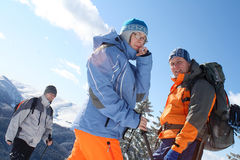 Friends. Equipped properly for winter time trekking Stock Photo