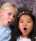 Friends. Portait of friends, blond scandinavian teenager girl and asian girl Royalty Free Stock Photos