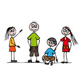 Friends. Four happy friends, siblings or classmates Stock Photos