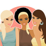 Friends. Portrait of three female friends of different ethnic backgrounds Royalty Free Stock Image