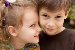 Friends. Portrait of two adorable kids smiling Royalty Free Stock Photography