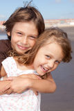 Friends. Portrait of two adorable kids smiling Royalty Free Stock Photo