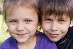Friends. Portrait of two happy little friends Stock Photos