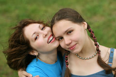 Friends. Happy friends outdoors Stock Image
