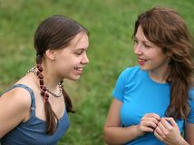 Friends. Happy friends outdoors Royalty Free Stock Image