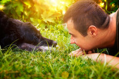 Friends. Concept. Man and labrador retirever dog are lying in summer grass Stock Photography