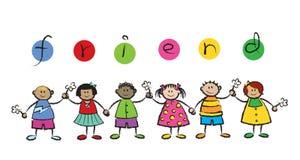 We are friends!. Cartoon illustration royalty free illustration