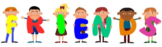 Friends. Illustration of children holding letters spelling out the word friends Stock Images