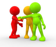 Friends. 3d people - men, person together. Business team joining hands concept Stock Photos