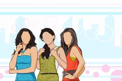 Friends. Easy to edit vector illustration of group of girl friends royalty free illustration
