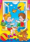 Friends. Children's book illustration for yours design, postcard, album, cover, scrapbook, etc Stock Photo