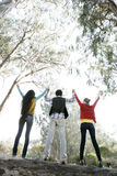 Friends. Three young adults outdoor holding hands with their backs facing the camera Royalty Free Stock Images